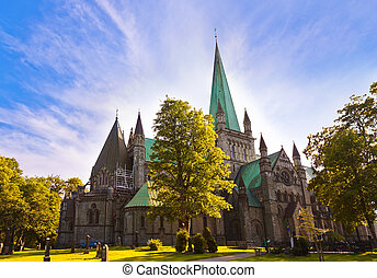 Cathedral in Trondheim Norway - architecture background