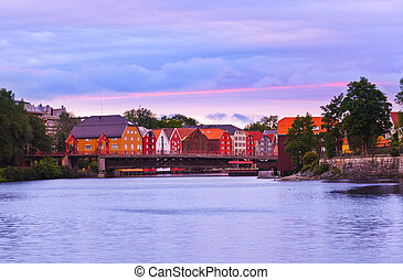 Cityscape of Trondheim Norway at sunset - architecture...