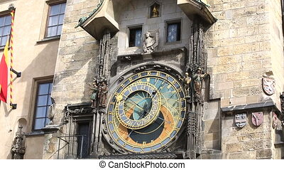 Prague astronomical clock (Prague orloj) in the Old Town...
