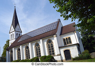 Solar panel on Church - An installation of solar modules at...