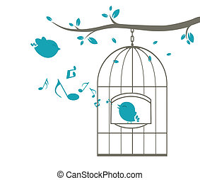 Birds singing on the cage - Vector Illustration of Birds...