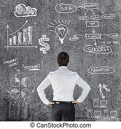young businessman and business plan