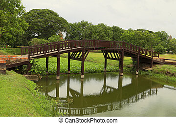 wooden bridge in the park - wooden bridge