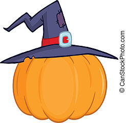 Pumpkin With A Witch Hat Cartoon Illustration