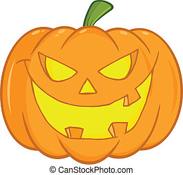 Scary Halloween Pumpkin Cartoon Illustration