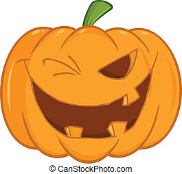 Scary Halloween Pumpkin Winking