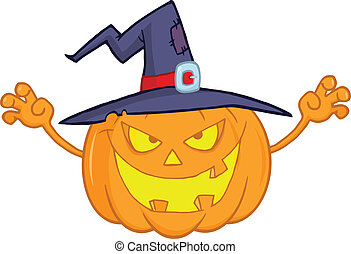 Pumpkin With A Witch Hat