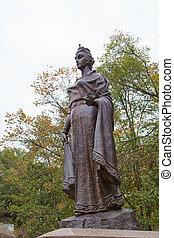 Monument of duchess Olga in Korosten, Ukraine - Monument of...