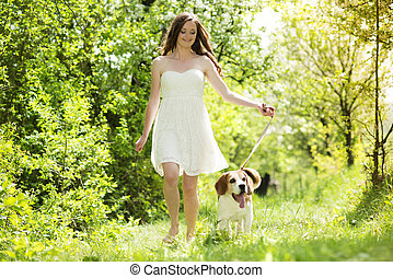 Woman with dog - Portrait of a woman with her beautiful dog...