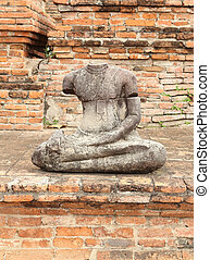 damage buddha statue in wat mahathat temple, Thailand