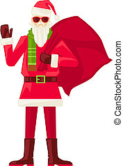 Cartoon Santa Claus in sunglasses isolated
