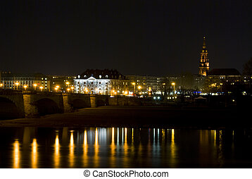 Augustusbruecke - famous bridge in Dresden in Saxony at...