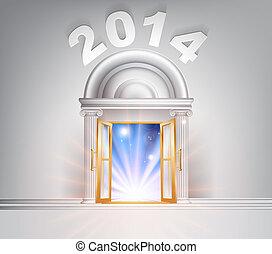 New Year Door 2014 concept of a fantastic white marble door...