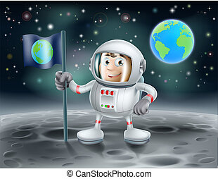 Cartoon astronaut on the moon - An illustration of a cute...