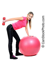Fitness - Portrait of fitness woman working out with free...