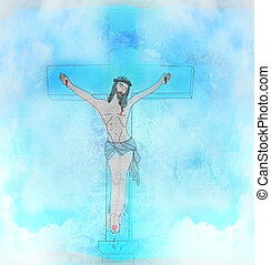 Crucifixion and resurrection of Jesus Christ on the cross