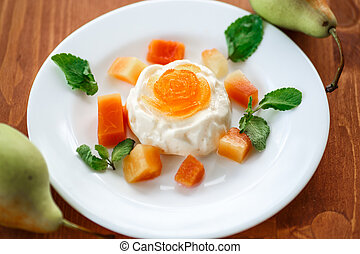 Fruit Panna Cotta - dairy dessert panna cotta with fruit and...