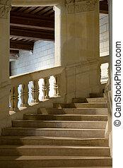 Chambord, castillo, francia, doble, hélice, escalera,...