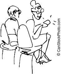 grandparents sit in the chairs in the office of the bank - a...