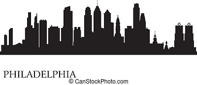 Philadelphia city skyline silhouette background. Vector...