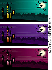 Three Halloween banners. vector, EPS10