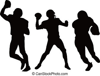 american football players silhouett - three american...