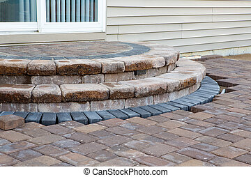 Patio Steps Side View - Pavers meets with patio steps and...