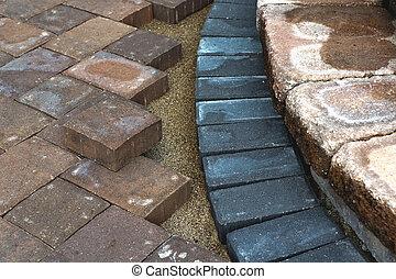 Paving Around Steps - Paving around patio steps with...
