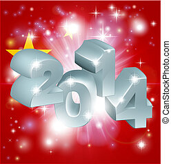 2014 Chinese flag - Flag of China 2014 background New Year...