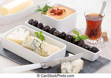 Appetizer Plate - Appetizers blue cheese and black marinated...