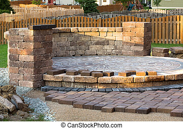 Patio Steps Side View - Pavers meets with patio island....