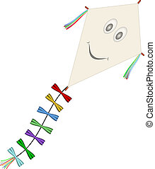 Paper kite with smiling face on white background