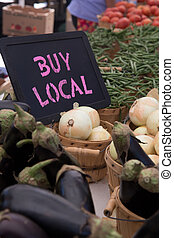 Buy Local Chalkboard With White Onions, Egg Plants, Green...