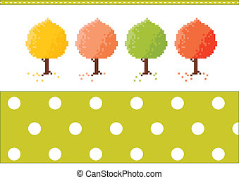 Autumn trees - Four color autumn trees with a pattern