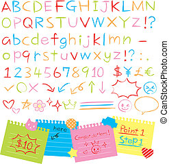 hand drawn style alphabets set - Colored pencil hand drawn...