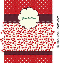 Card with cherries pattern for your design - Card with...
