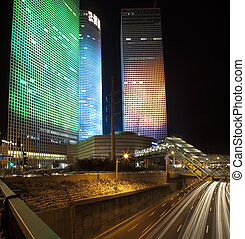 Tel Aviv night city - The modern buildimg in Tel Aviv at...