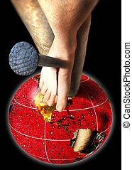 crucifixion - A crucifixion with a globe with continents...