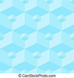 Vector seamless pattern - a three-dimensional pattern from volume blue figures