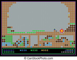 Vector screenshot of the old style computer game - Vector...