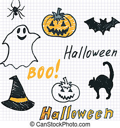 doodle halloween seamless background