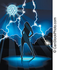 dancing woman - illustration, abstract background with woman...