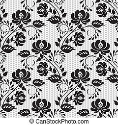 lace floral pattern - Seamless background with lace floral...