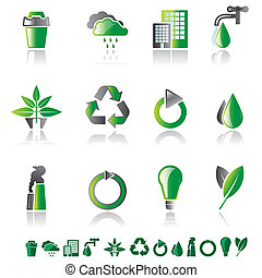 Set of 12 environmental icons isolated on white with smaller...
