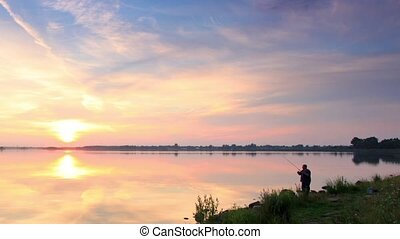 Sunset over the reservoir in Vyshny Volochyok, Vyshnevolotsk...