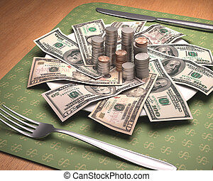 Hunger For Money - Dinner time with American money on the...