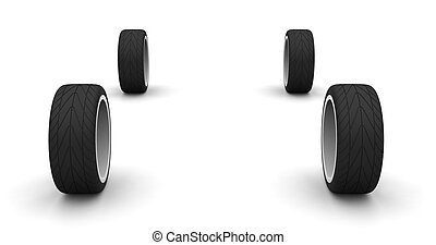Four new car wheels isolated on the white background. Front...