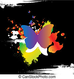 Grunge butterly design - Grunge butterfly design with text...