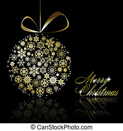 Golden Christmas  ball made of gold snowflakes with stars on black background. Vector eps10 illustration