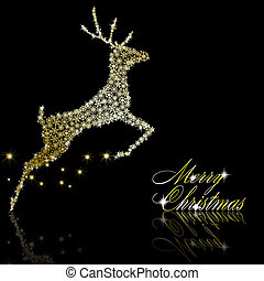 Golden Christmas  deer made of gold snowflakes with stars on black background. Vector eps10 illustration